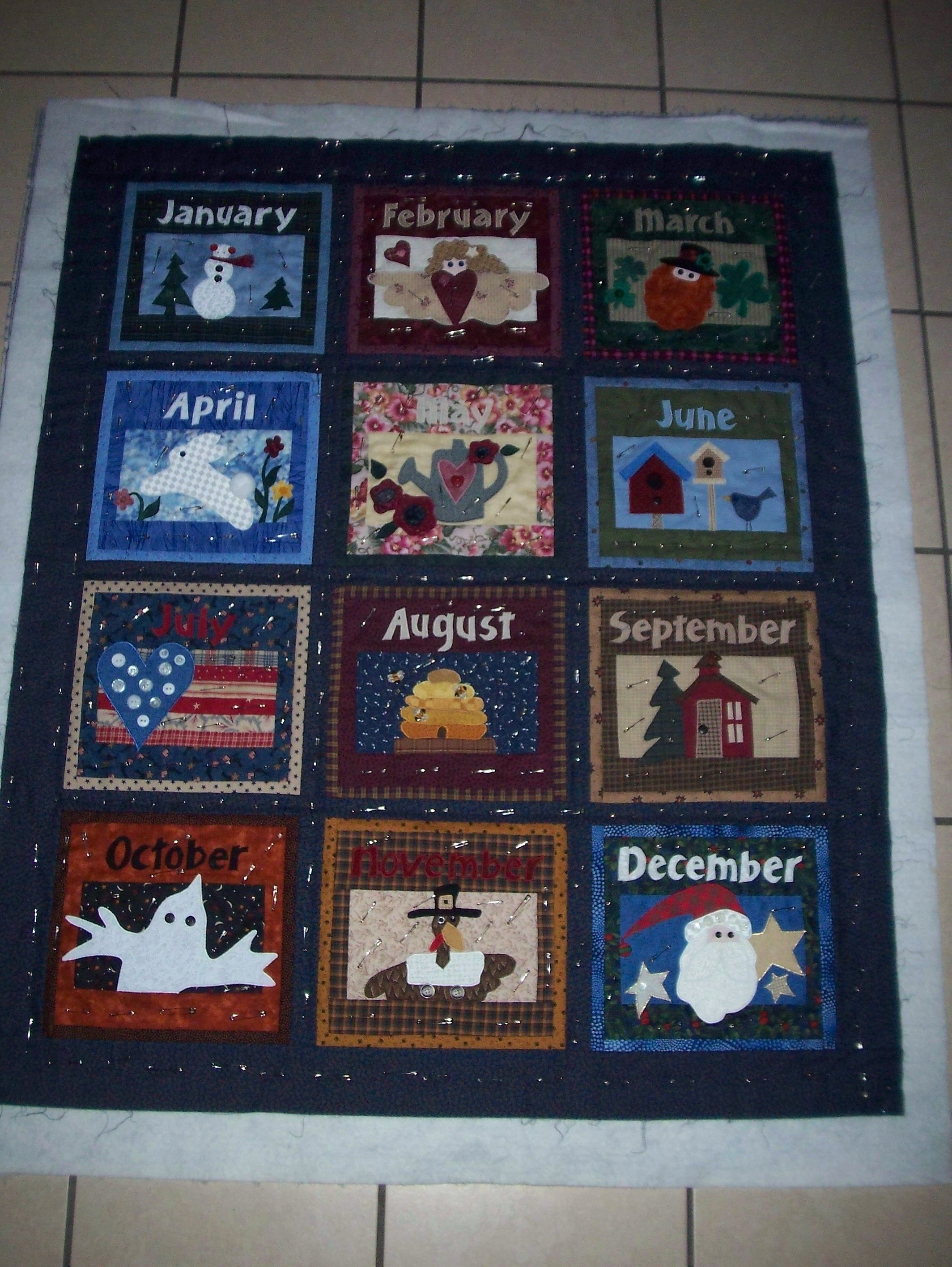 Monthly Calendar Quilt Patterns : Months of the year applique quilt i made this a few