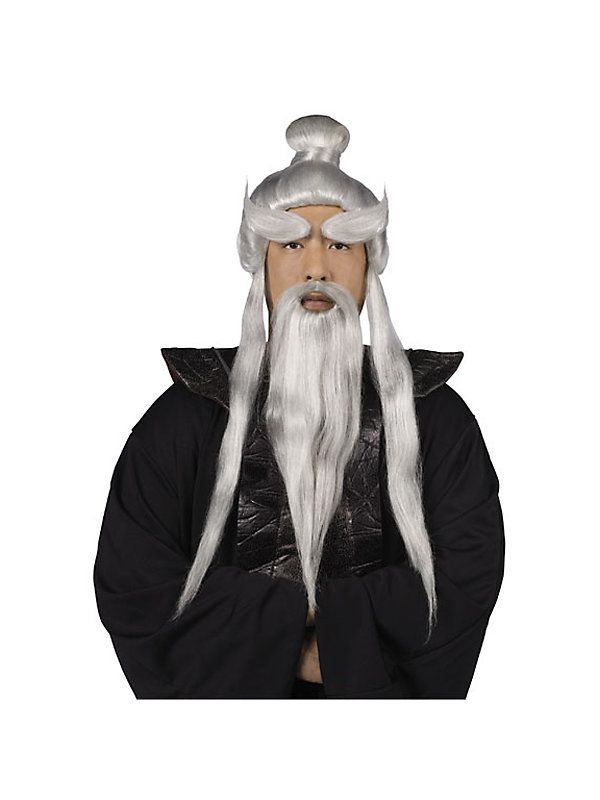 Wigs-International 92034FW Silver Sensei Wig and Beard Set for Men - halloween costumes with beards ideas