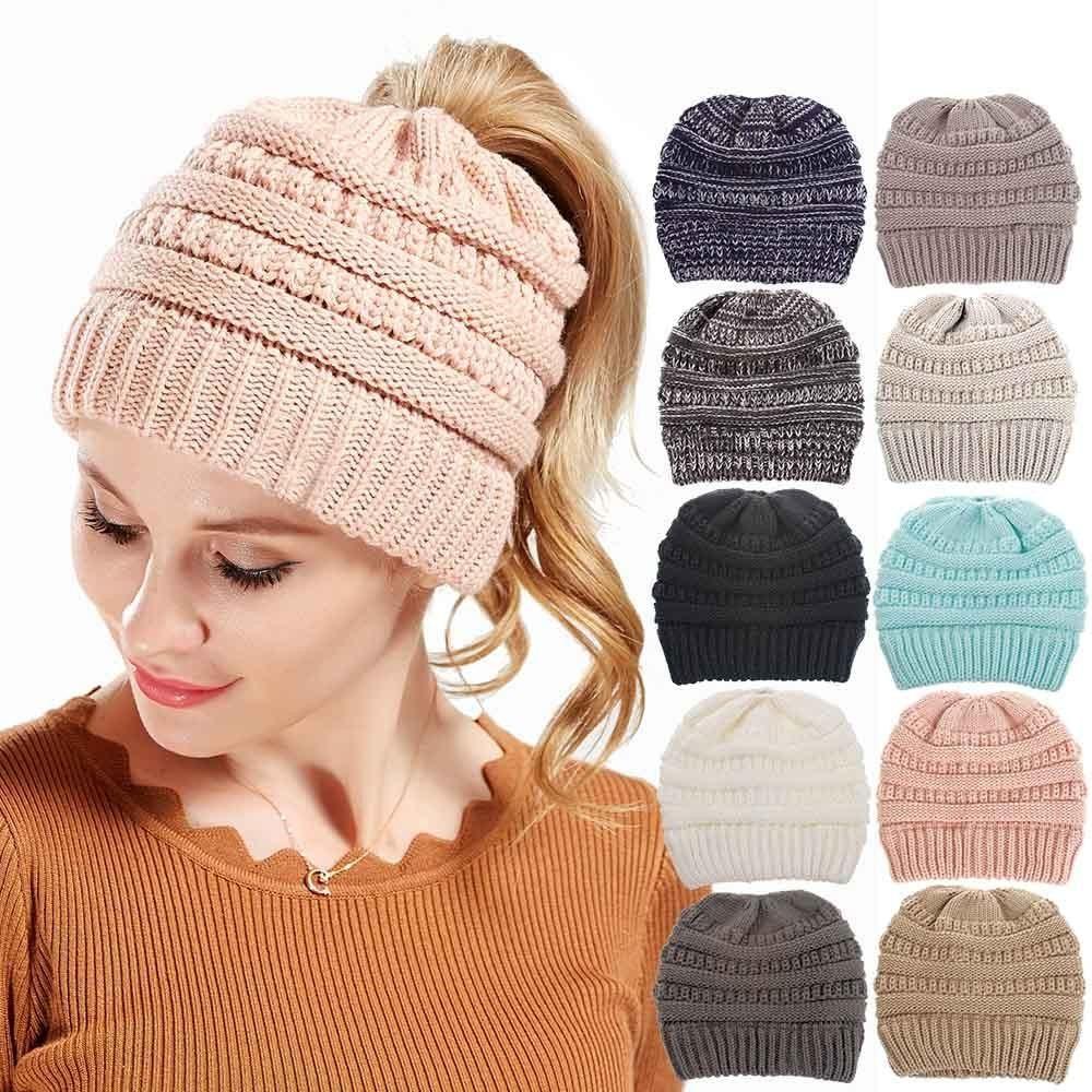 Ponytail Beanie Women Baggy Warm Crochet Winter Wool  9b6962c5fbc
