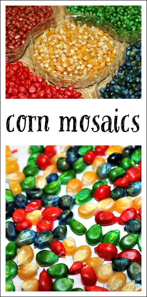 colorful corn mosaics use dyed corn kernels to create fall process art perfect for