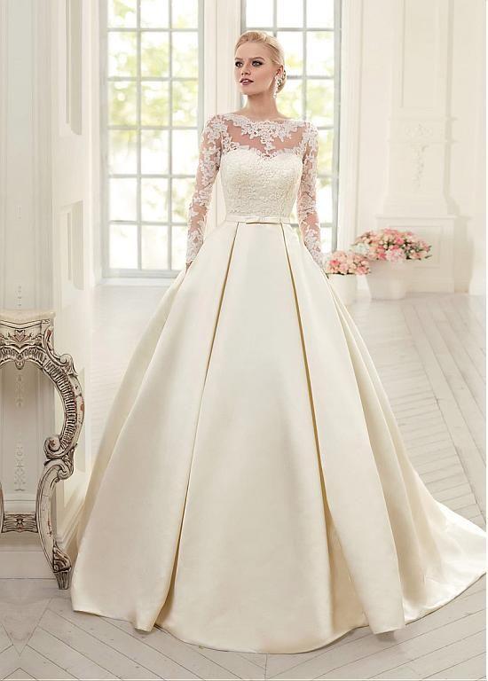 Elegant Tulle Satin Bateau Neckline Ball Gown Wedding Dresses With