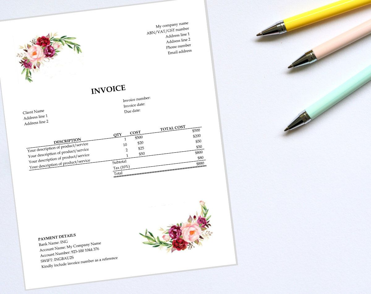 Excel Invoice Template Receipt Bill Business Invoice Etsy Invoice Template Templates Excel Templates