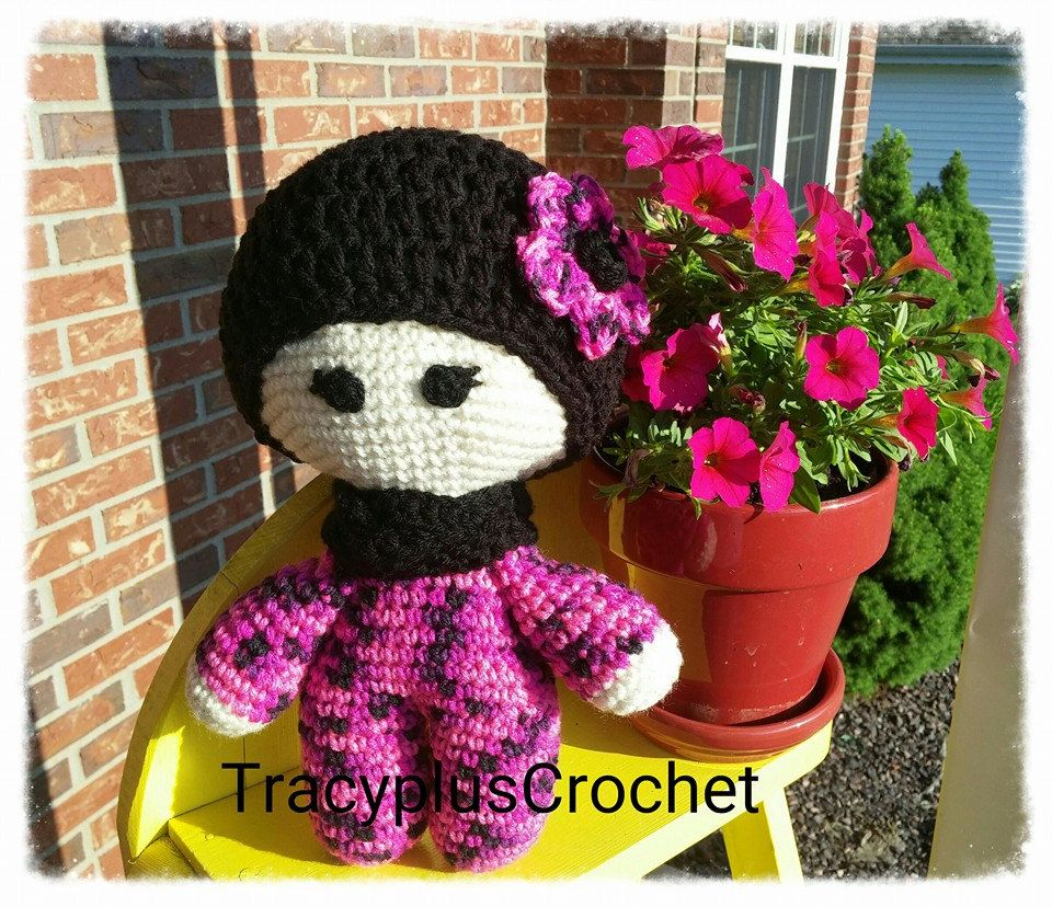 Pink doll. Crochet doll. Crochet Pink and black doll. Handmade Pink doll.Crochet Baby doll. Big head doll. by TracyplusCrochet on Etsy