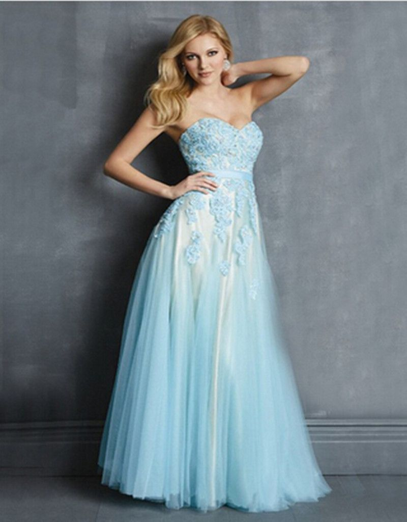 Elegant Beaded Lace Strapless A Line Sky Blue Mint Green Long Prom ...