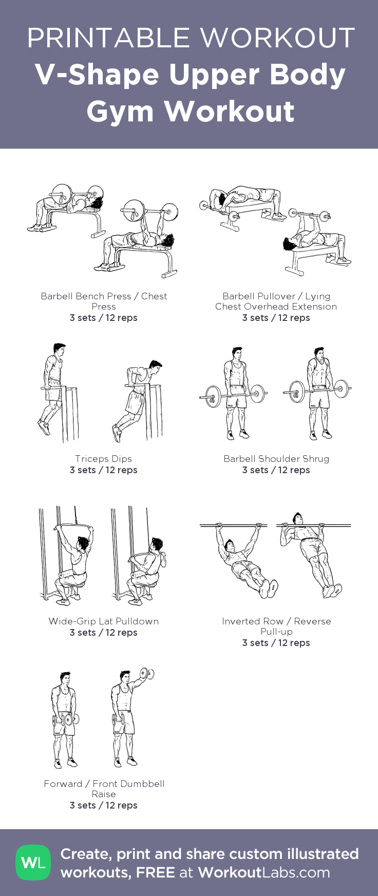 V-Shape Upper Body Gym Workout: my visual workout created at