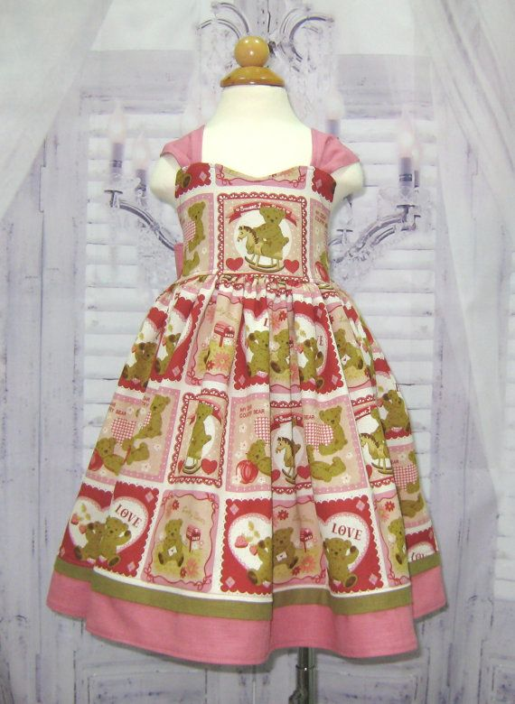Teddy Bear Dress, Pink and Red Girl Dress, Country Style Girl Dress ...