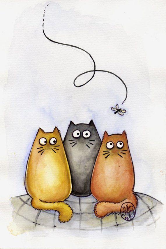 Рисунки смешных кошечек, доброго денечка