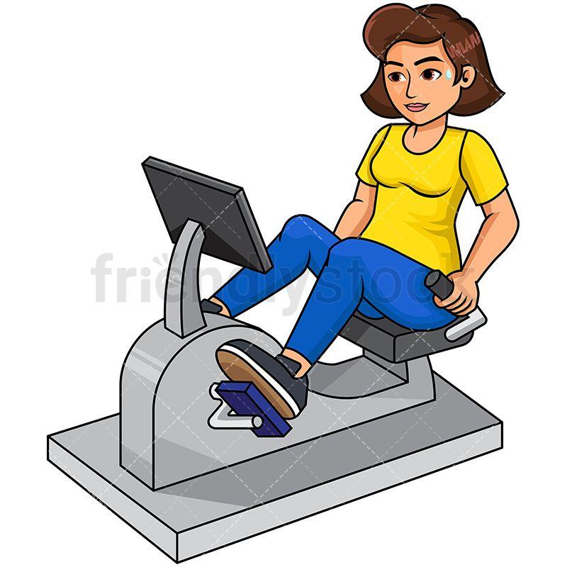 Woman On Reclined Exercise Bike Cartoon Vector Clipart Friendlystock Biking Workout Cartoon Cartoon Clip Art