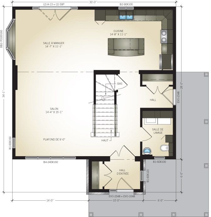 Plan du rez-de-chaussée Maison usinée - Luxembourg Pinterest