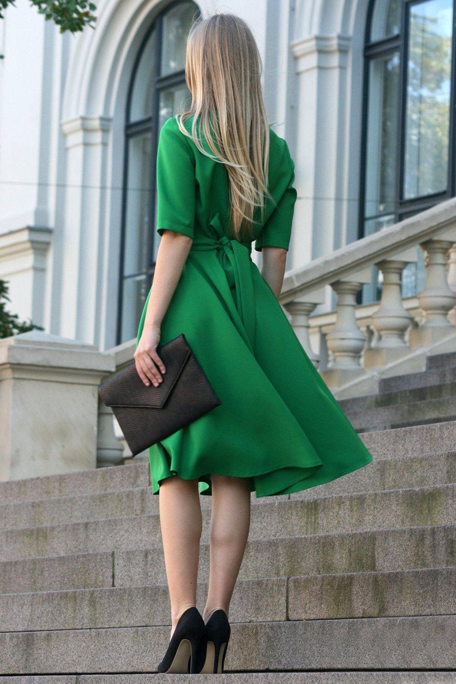 Midi Dress Green Dress Formal Dress Office Dress Summer Etsy Elegant Dresses For Women Short Sleeve Prom Dresses Green Midi Dress [ 2382 x 1588 Pixel ]
