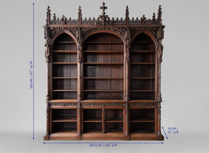 A Large Neo Gothic Oak Bookcase Collection Of Abbe Cochet Bookcases Desks Vitrines Gothic Bookcase Antique Bookcase Neo