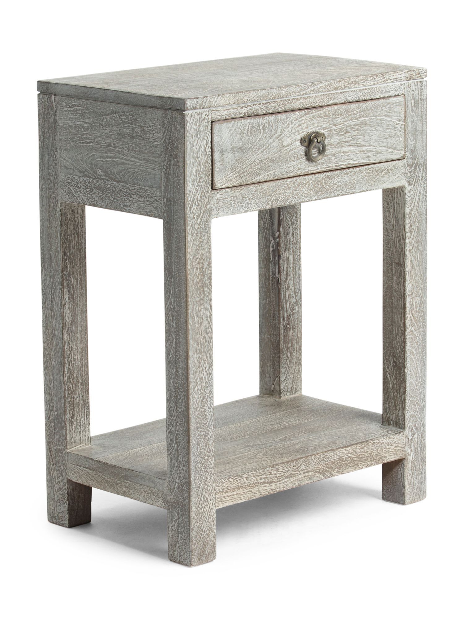 Made In India Wren Wooden End Table Accent Furniture Tables Nightstand