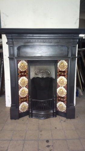 Reclaimed Antique Victorian Edwardian Cast Iron Tiled Combination Fireplace Cast Iron Fireplace Fireplace Antique Fireplace