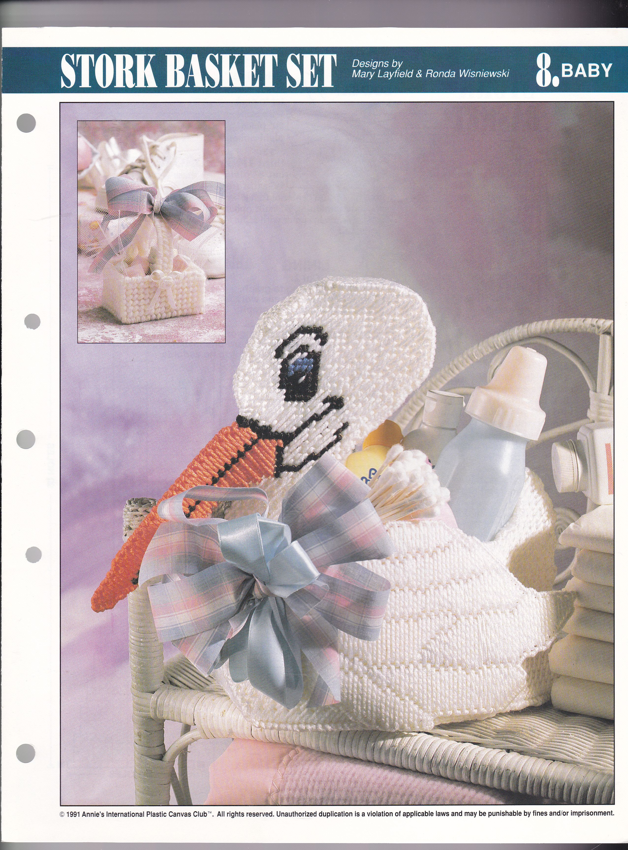 Stork Basket Set for Baby Annie/'s Plastic Canvas Pattern//Instructions NEW