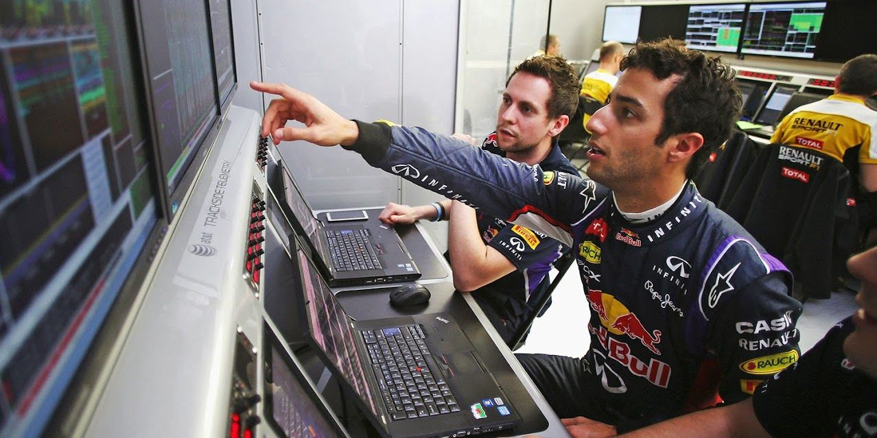 """Ricciardo:"""" Wait a minute, this says Seb's quicker than me! That can't be right!"""""""