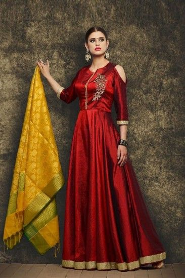 ba53f7f3ee Gorgeous Maroon Silk Anarkali Suit With Dupatta - DMV15053 | Banaras ...