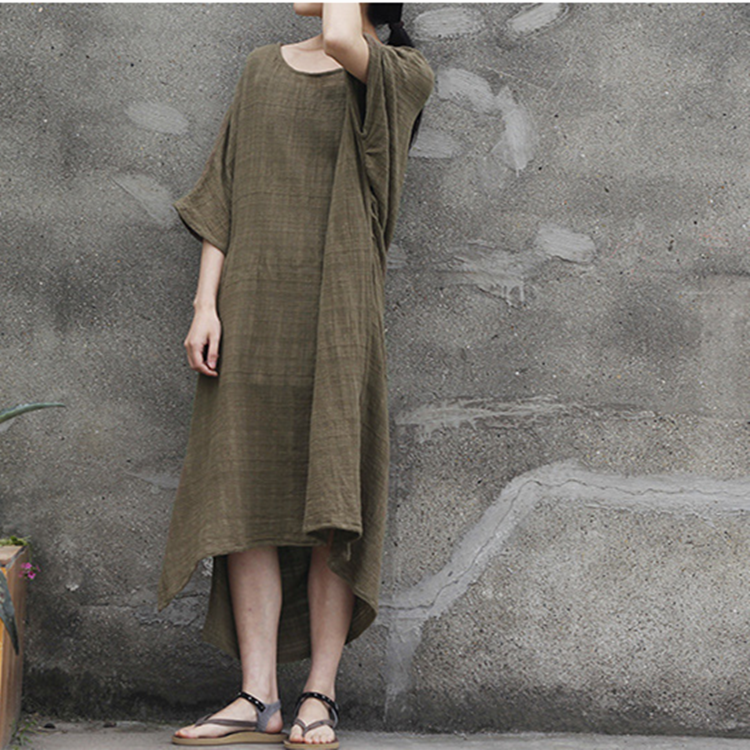 women cotton 1/2 sleeve loose fitting summer dress - Buykud  - 4