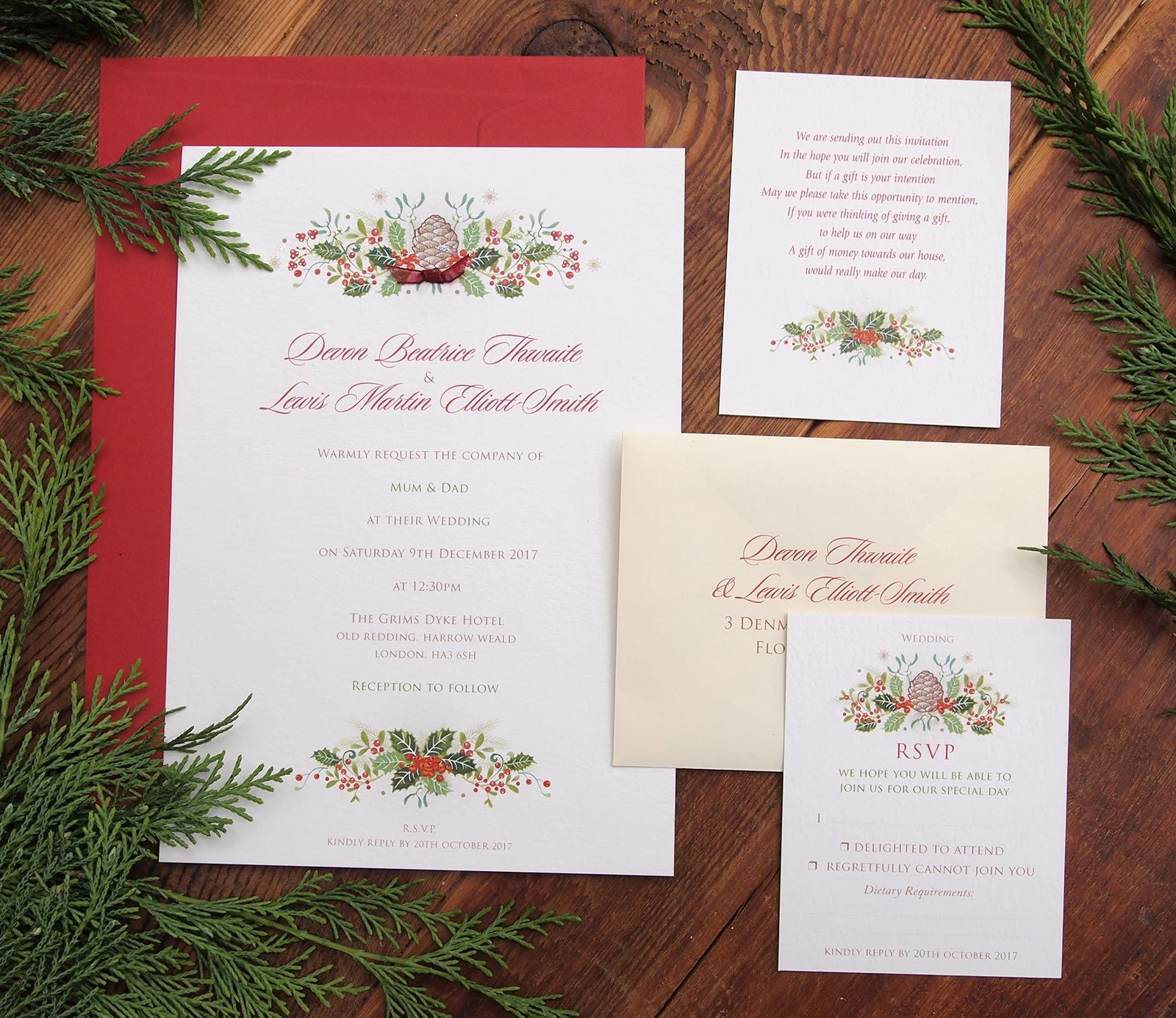 Holly Berries - Christmas themed wedding stationery | Paper ...