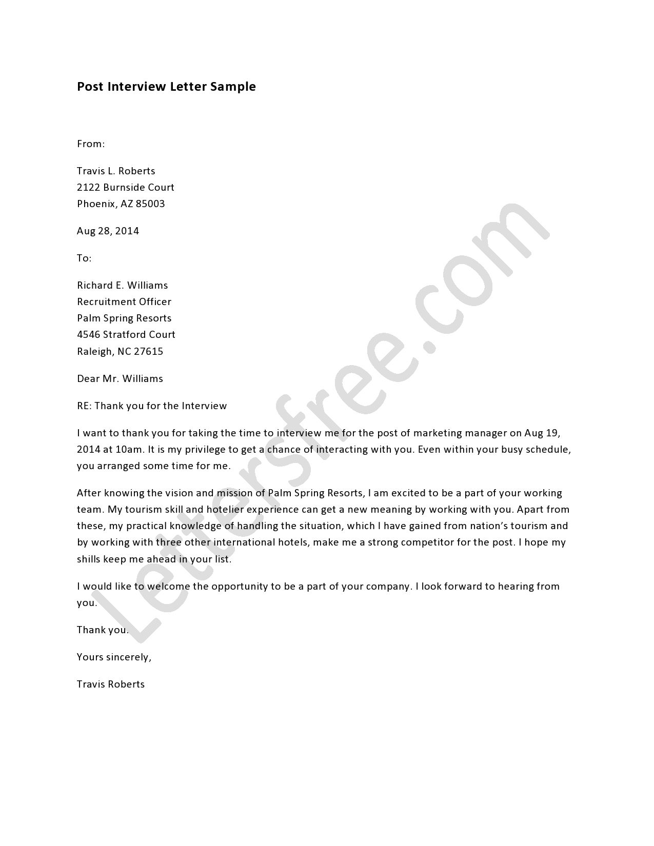 Learn To Frame Formal Post Interview Letter In An Effective Manner. Use The  Template Format For Writing The Best Customized Drafts On Behalf Of The  Company.