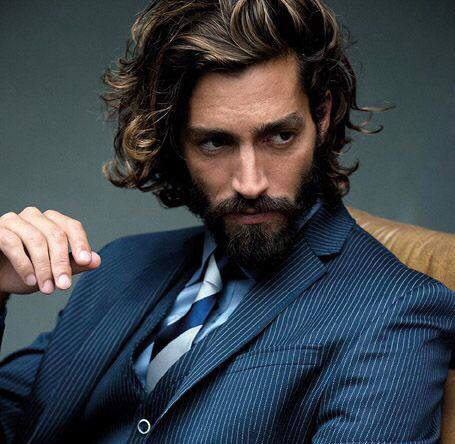 Beard and suit. Mens fashion
