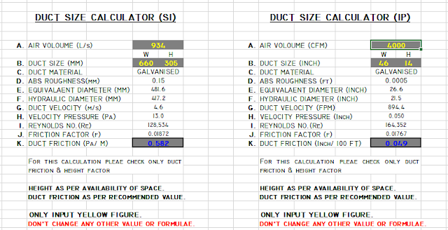HVAC Duct Size Calculator Excel Free Ductulator
