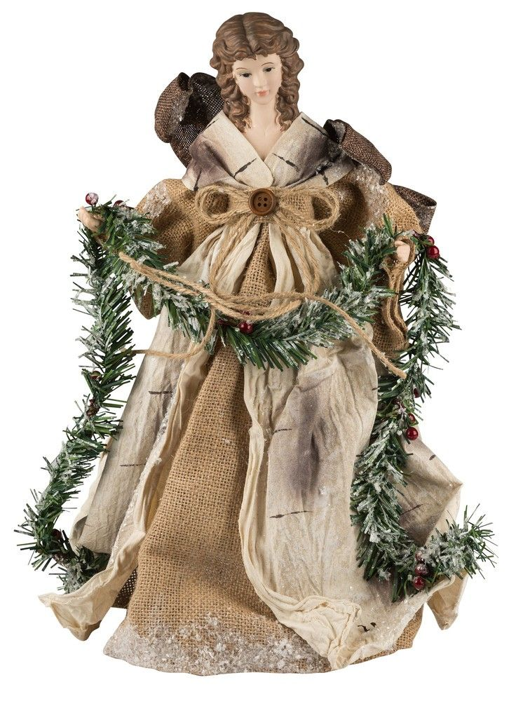 This Angel Christmas Tree Topper Is Adorned With Burlap And Pine To Create A Natural Angel Christmas Tree Topper Christmas Tree Angel Christmas Tree Toppers