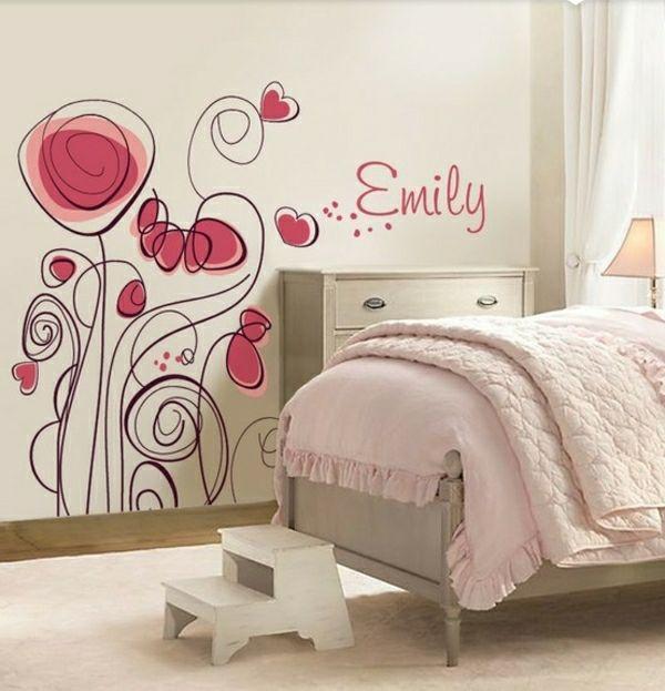 Babyzimmer wandgestaltung mädchen  Wandtattoo Blumen Mädchenzimmer-Wandgestaltung | Wände | Pinterest ...