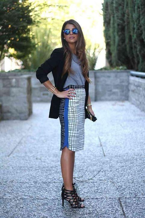Wear a bold, printed pencil skirt to the office by pairing with a gray top and black blazer. Click for more outfit ideas!