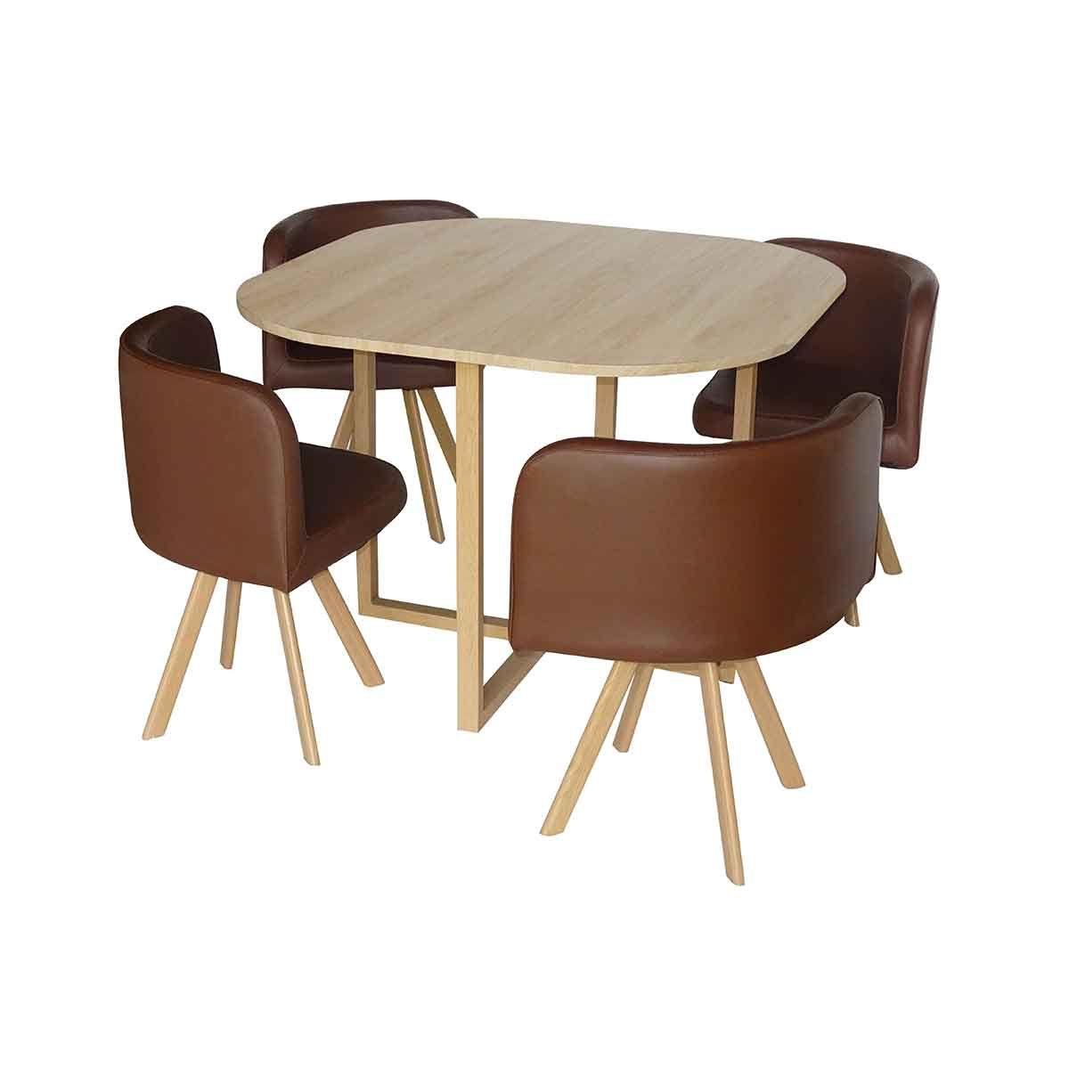 Table Avec 4 Chaises Encastrables Marron Table Et Chaises