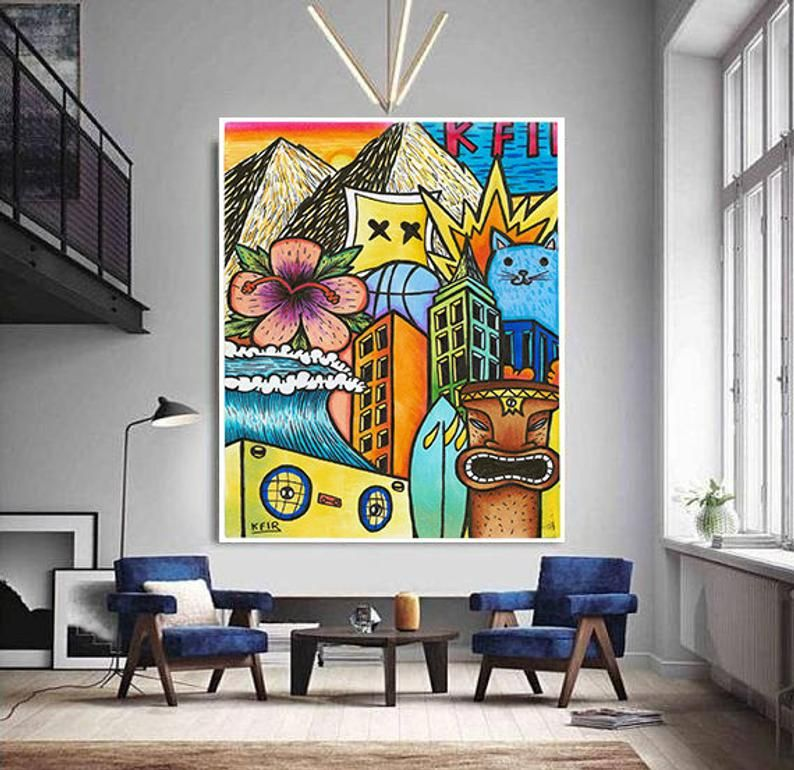 Living Room Wall Art Graffiti Wall Art Pop Art Print Colorful Wall Art Graphic Design Print Street Art On Canvas Urban Wall Art Tiki Urban Wall Art Graffiti Wall Art Hawaii