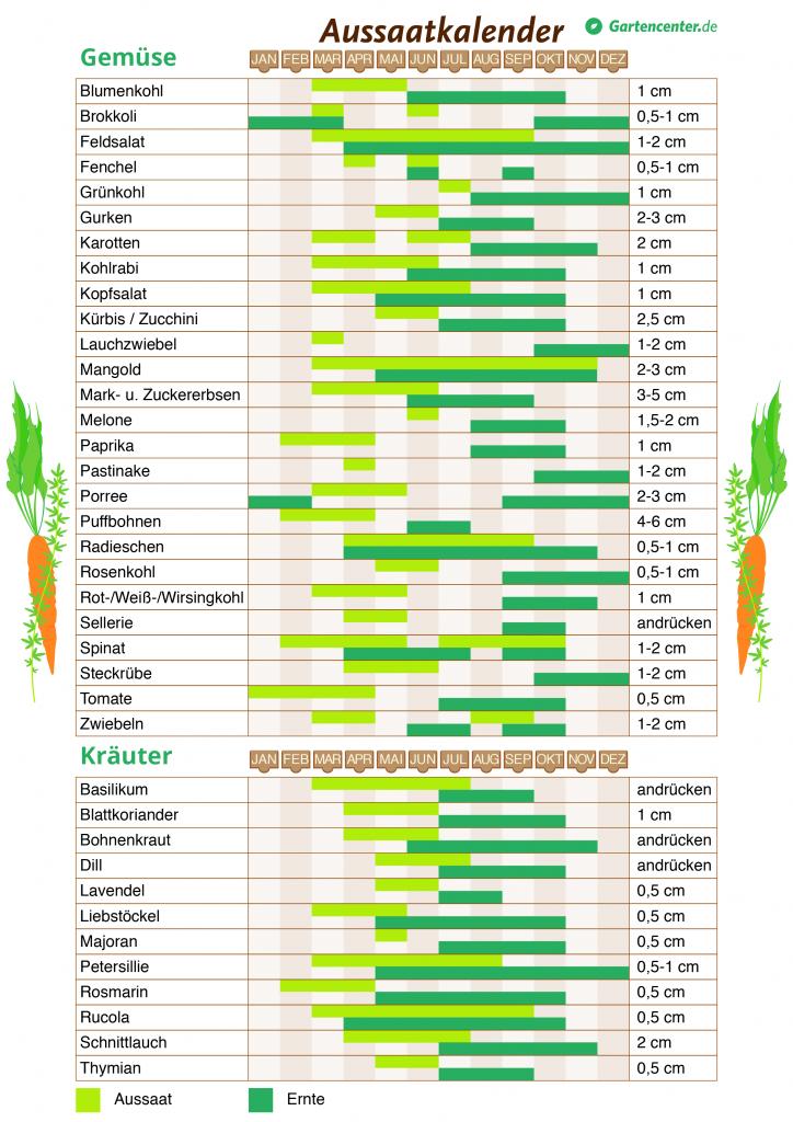 Pflanzkalender 2018: Wann man Gemüse und Kräuter pflanzen kann #gemüsepflanzen