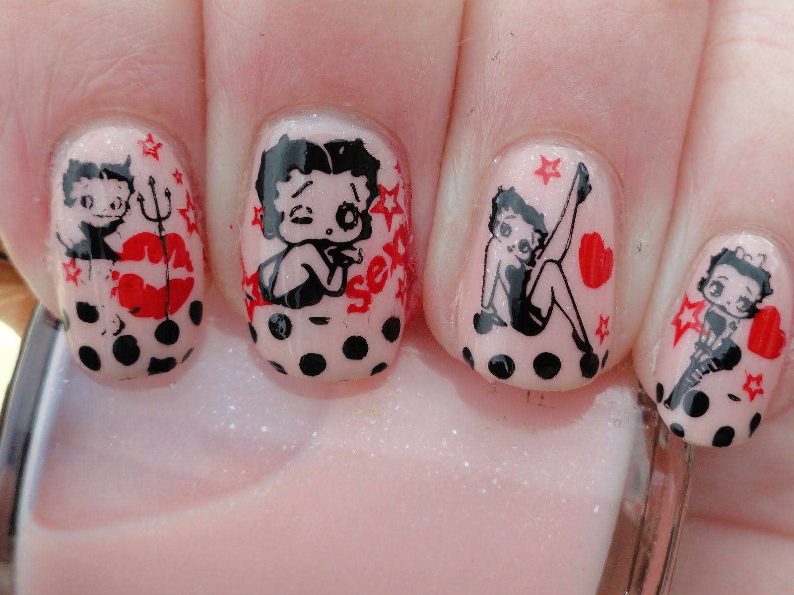 Such A Nice Creativity Betty Boop Nail Art Re Pin Nail Exchange