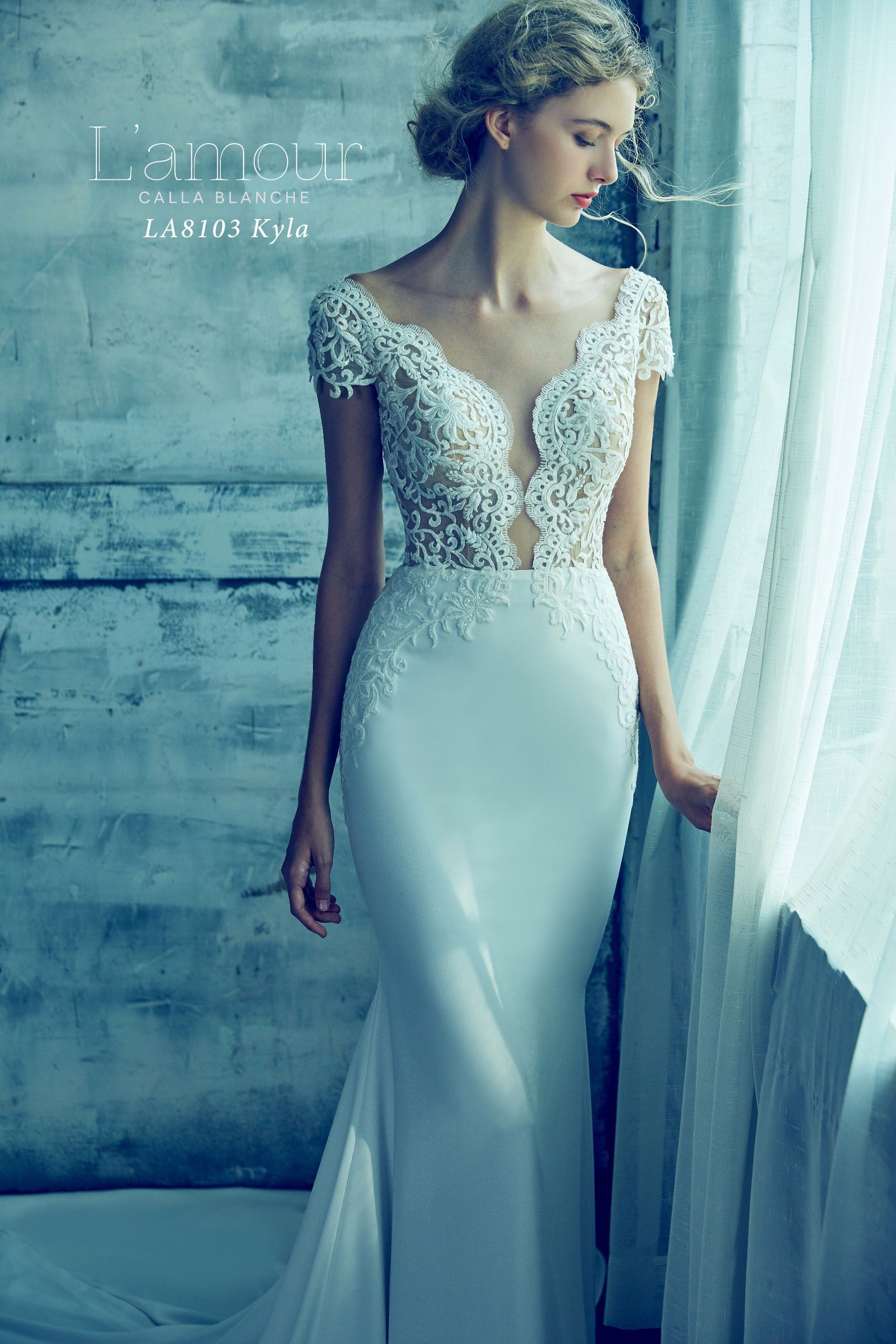 LA8103 Kyla beautifully detailed lace front with low neckline with ...