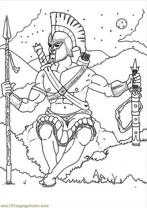 War God Ares From Greek Mythology Coloring Page: War God Ares from ...