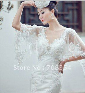 Loyal Sexy Butterfly Sleeve France Lace Decorated Mermaid Wedding Dress US 6600