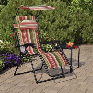 Mainstays Oversize Bungee Lounge Chair With Canopy And Cup Holder,  Multi Color
