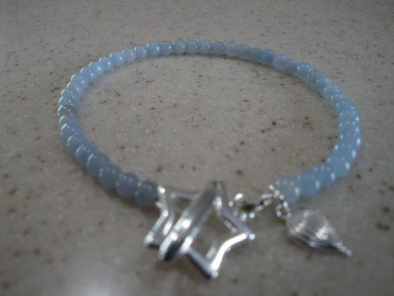 7 1/2 Angelite gemstone bracelet with star toggle by InnerGems