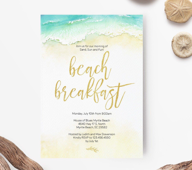 Gold Beach Wedding Brunch Or Wedding Breakfast Invitation Etsy Gold Beach Wedding Brunch Wedding Beach Wedding