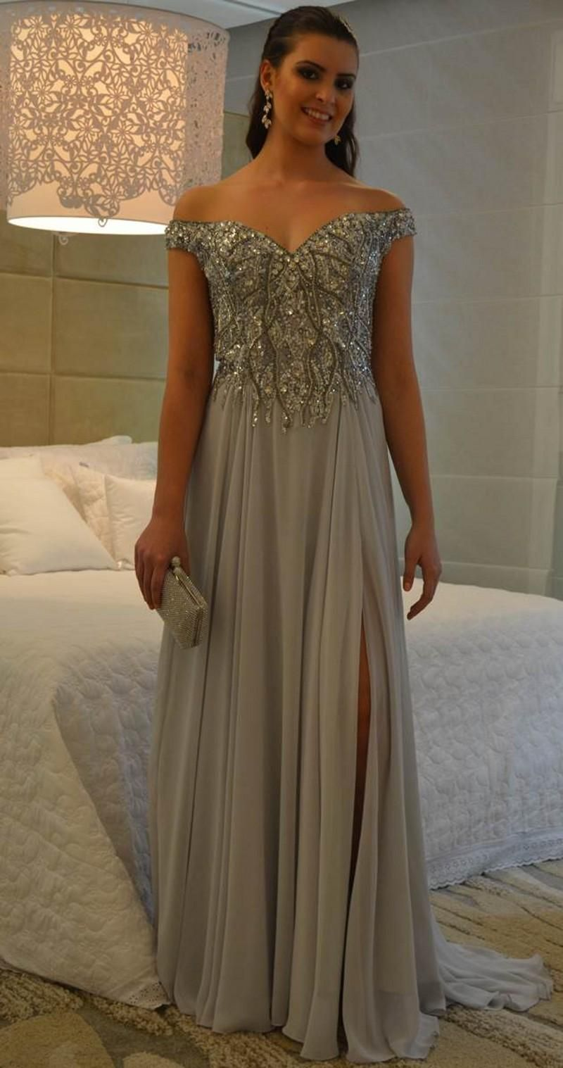 Off shoulder prom dresses with crystals beads split side ruffles