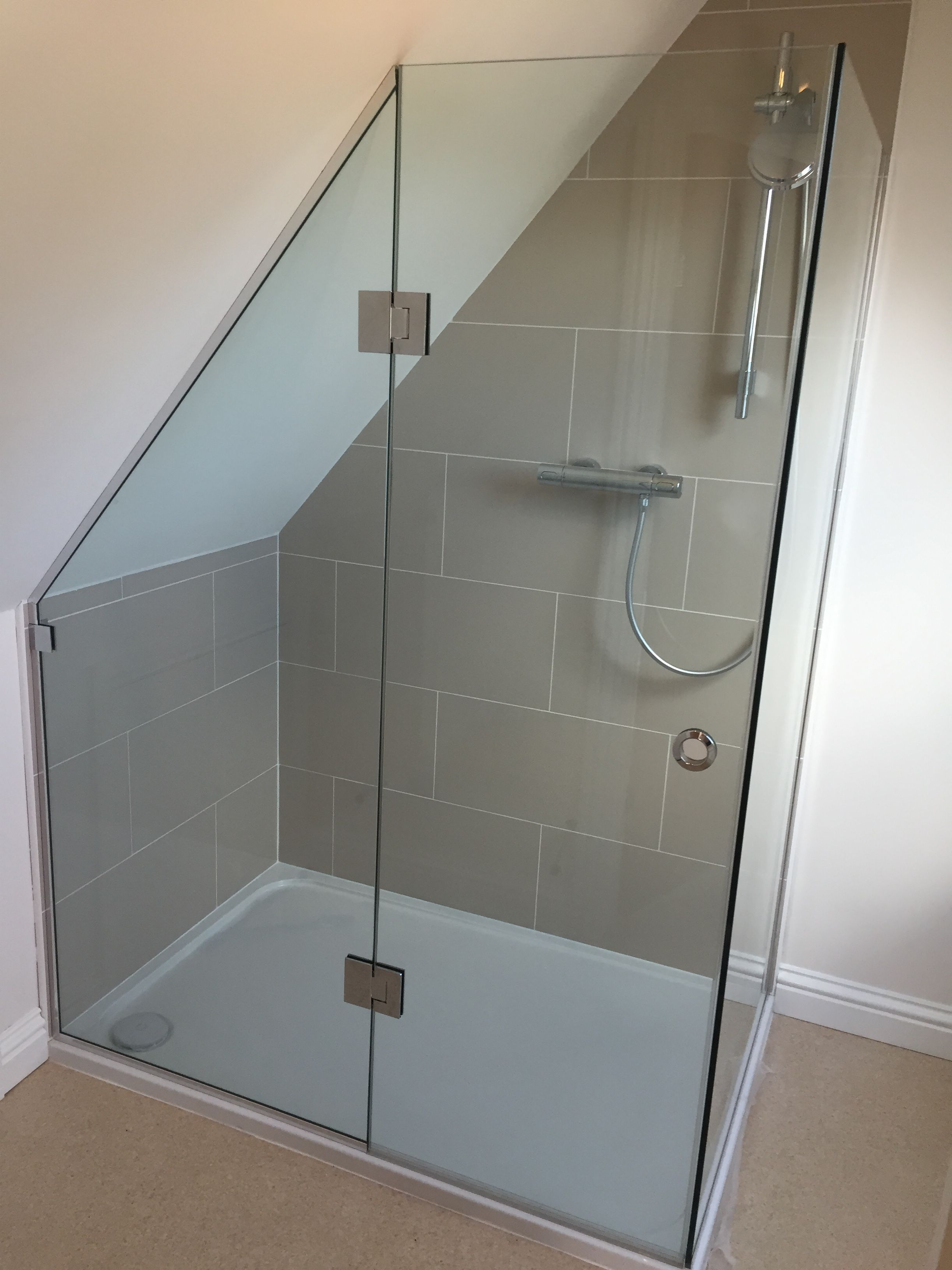 Bespoke 2 sided shower enclosure shaped to sloping ceiling ...