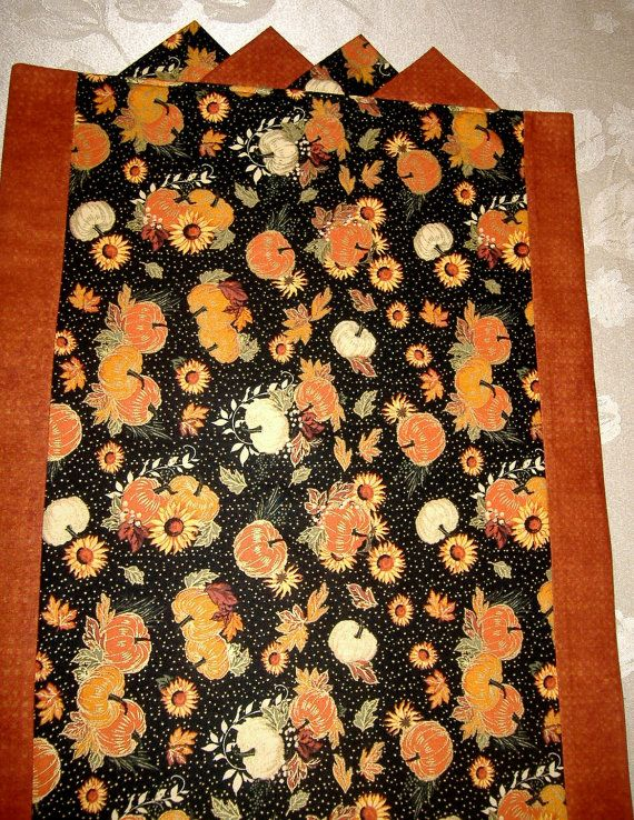 Table Runner Pumpkins Fall Harvest  SUnflowers by AStitchinTime72, $20.00