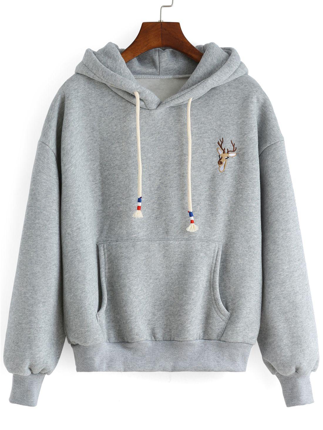 c0fdbfa39eb7b Sweat-shirt à capuche avec broderie cerf -gros 15.51   • porte ...