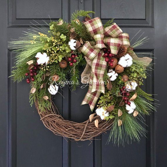 Rustic Christmas Wreath Winter Wreath For Front Door Cotton Boll