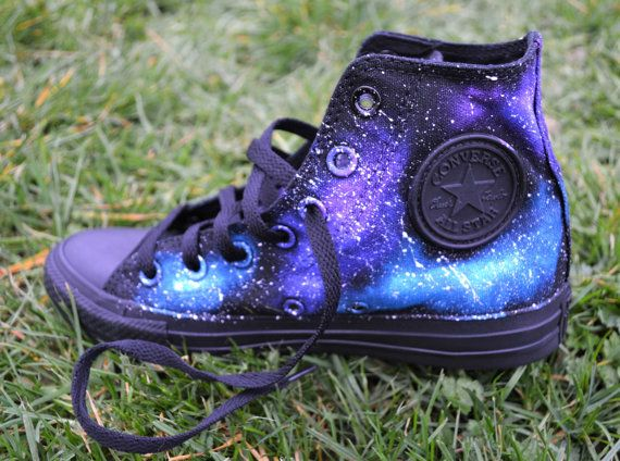 95db96ee682f Black Converse All Stars custom hand painted to look like a galaxy full of  stars. These Galaxy Hi Tops are really unique