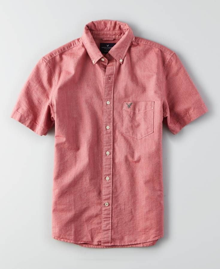 AEO Short Sleeve Button Down Shirt, Men's, Red | *Clothing ...