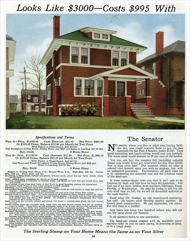 International Mill Timber Company Senator 1916 Kit House Catalog Square House Plans Craftsman House Plans Vintage House Plans