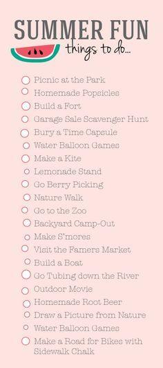 To Do Liste Ideen summer list family activities summer activities