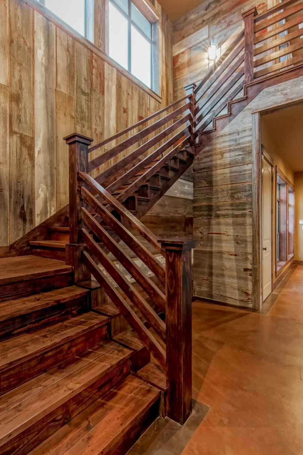 Rustic Stairs With Natural Wood Walls And Stained Wood   Timber Handrails For Stairs