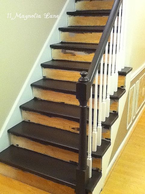 Stair Redo With Painted Treads And Beadboard Risers...one Day My Stairs  Will Look Like This