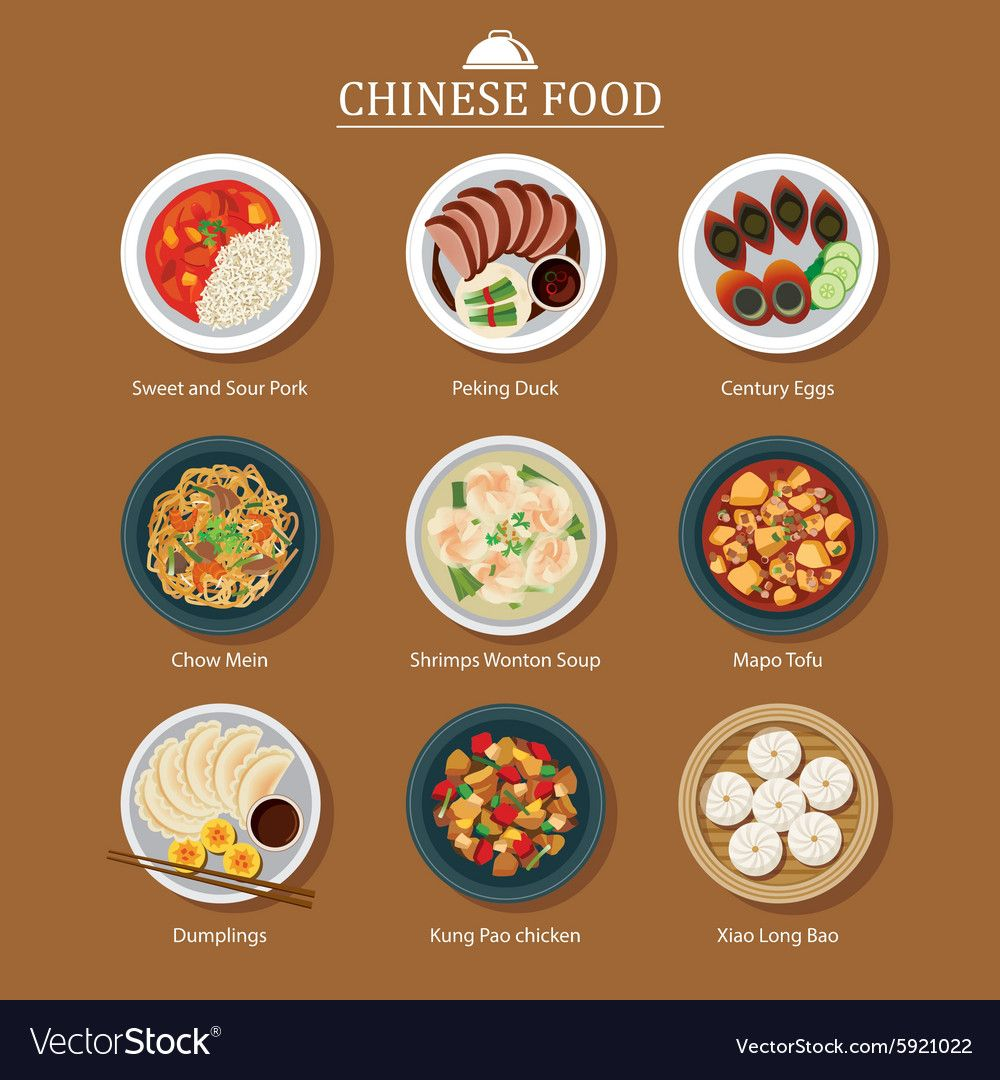 Set Of Chinese Food Vector Image On Vectorstock Chinese Food Food Doodles Food Artwork